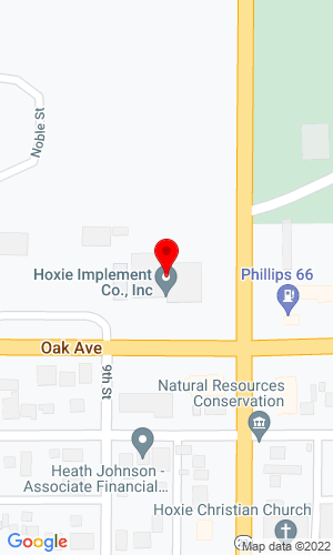 Google Map of Hoxie Implement Co 933 Oak Avenue, Hoxie, KS, 67740-0587,