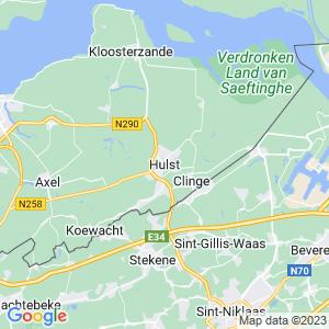 Werkgebied van onze bestrijder in Hulst