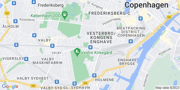 Et kort over University College - København & Hillerød - UCC
