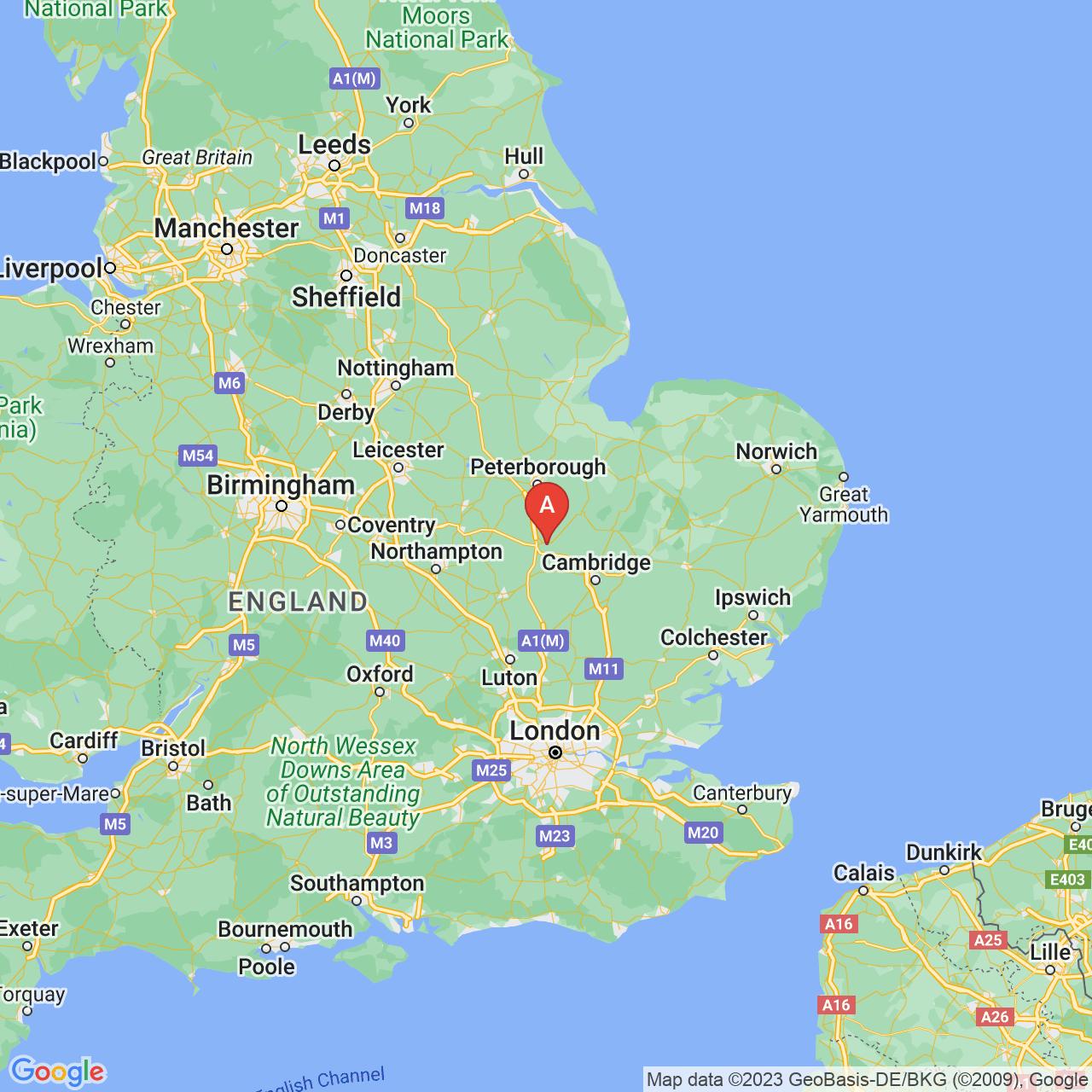 Huntingdon, England Map