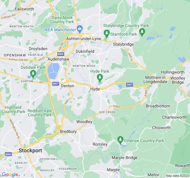 Website Designer Hyde Google map of location