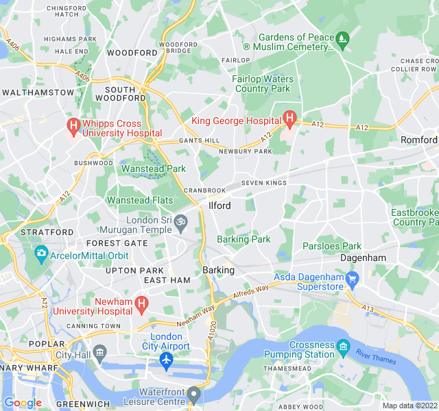 Website Designer Ilford Google map of location