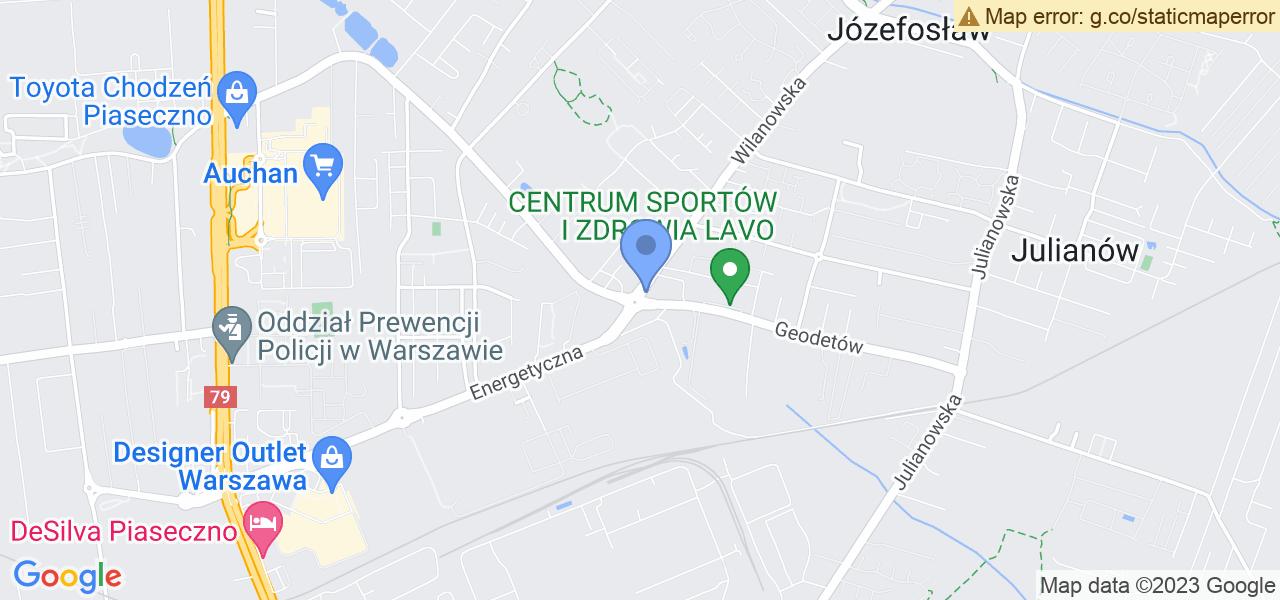 Jedna z ulic w Józefosławiu – Geodetów i mapa dostępnych punktów wysyłki uszkodzonej turbiny do autoryzowanego serwisu regeneracji