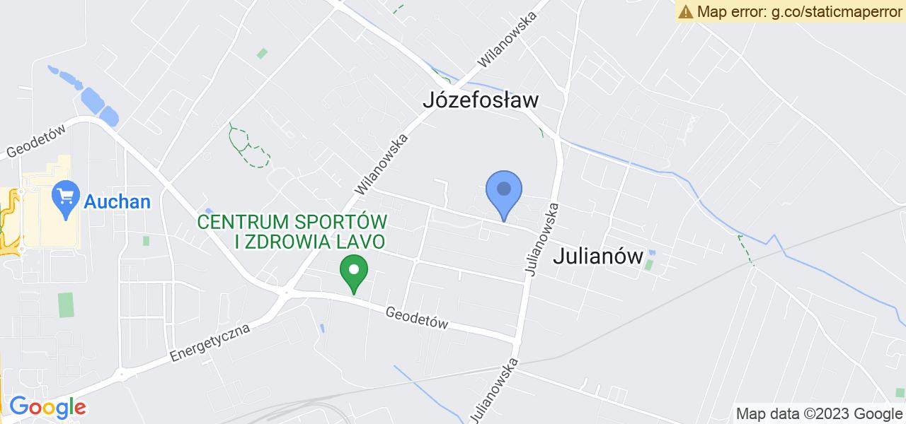 Jedna z ulic w Józefosławiu – Wenus i mapa dostępnych punktów wysyłki uszkodzonej turbiny do autoryzowanego serwisu regeneracji