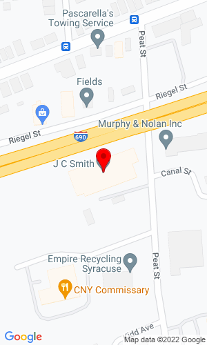 Google Map of JC Smith Inc 345 Peat Street, Syracuse, NY, 13210