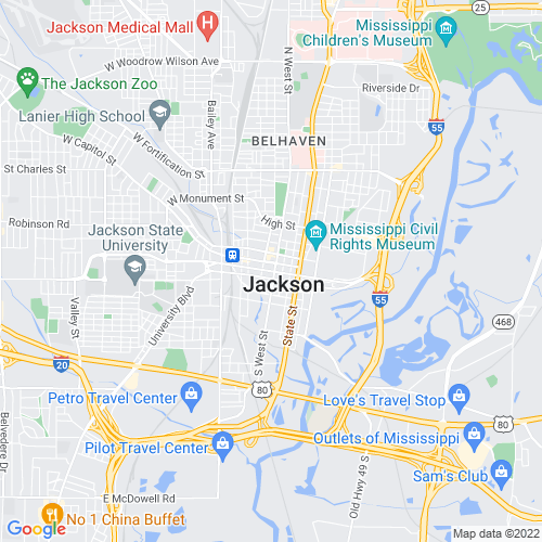 Map of Jackson, MS