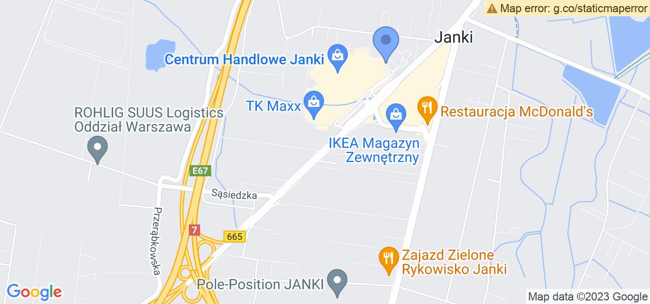 Jedna z ulic w Jankach – Mszczonowska i mapa dostępnych punktów wysyłki uszkodzonej turbiny do autoryzowanego serwisu regeneracji