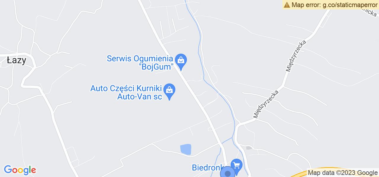 Jedna z ulic w Jasienicy – Strumieńska i mapa dostępnych punktów wysyłki uszkodzonej turbiny do autoryzowanego serwisu regeneracji