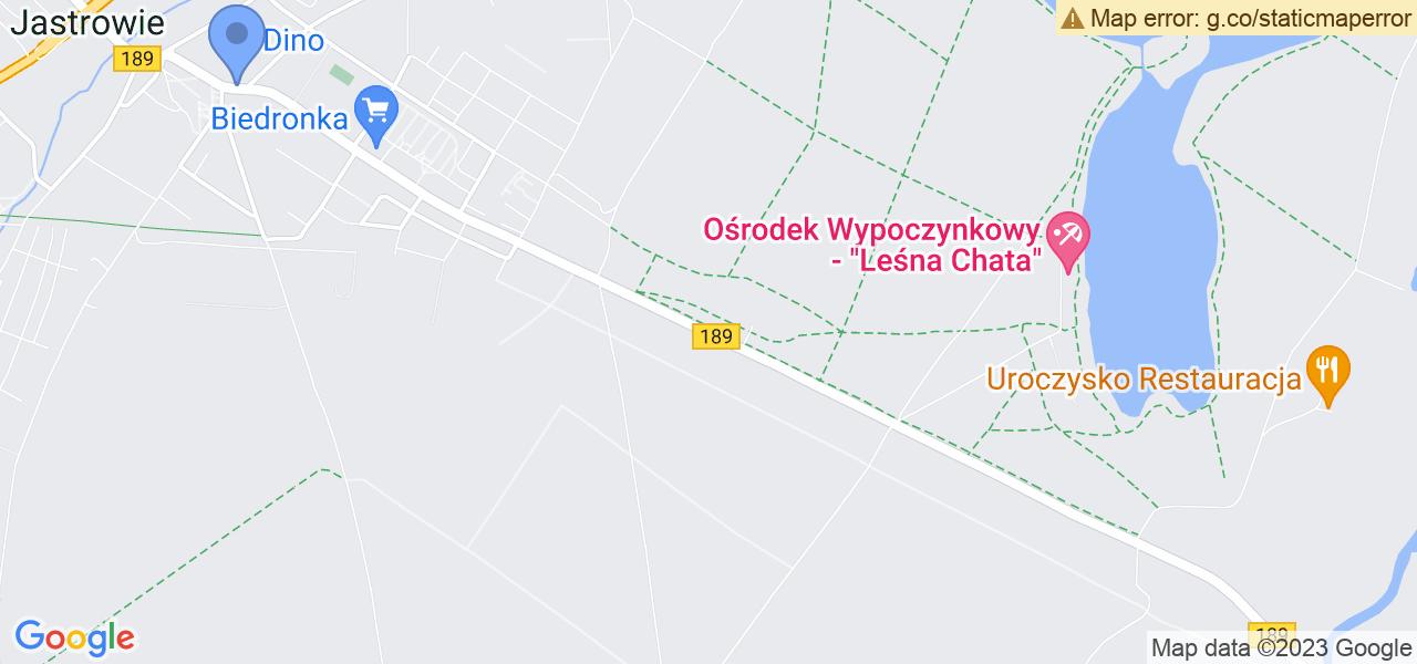 Jedna z ulic w Jastrowiu – Wojska Polskiego i mapa dostępnych punktów wysyłki uszkodzonej turbiny do autoryzowanego serwisu regeneracji