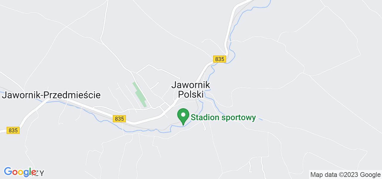 Jedna z ulic w Jaworniku Polskim – 1627R i mapa dostępnych punktów wysyłki uszkodzonej turbiny do autoryzowanego serwisu regeneracji