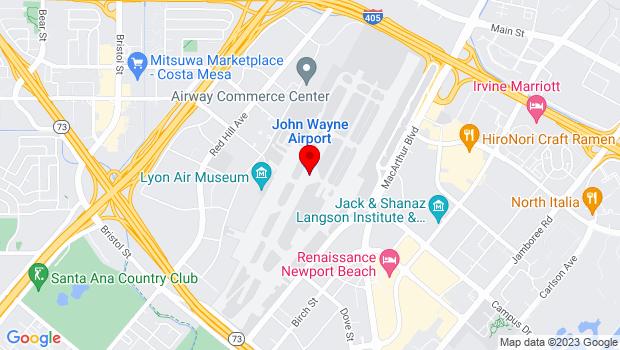 Google Map of John Wayne, Santa Ana, CA 92707