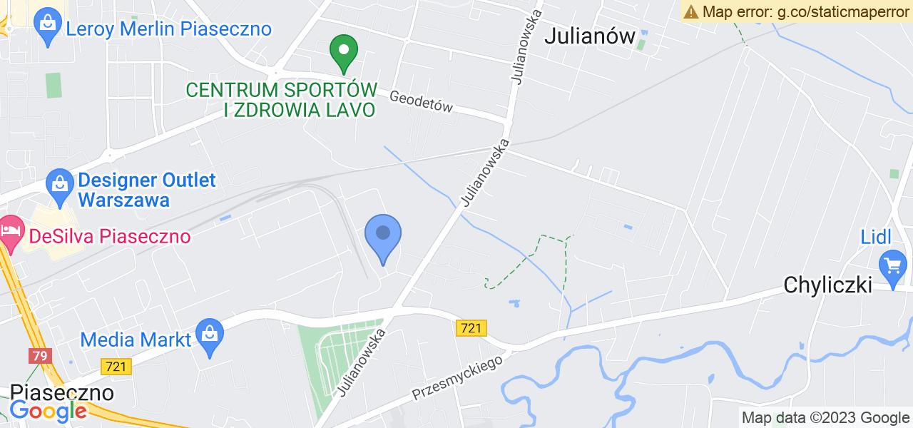 Jedna z ulic w Julianowie – Julianowska i mapa dostępnych punktów wysyłki uszkodzonej turbiny do autoryzowanego serwisu regeneracji