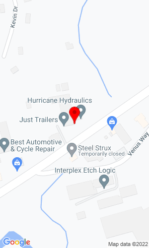 Google Map of Just Trailer Sales 1863 County Street, S. Attelboro, MA, 02703