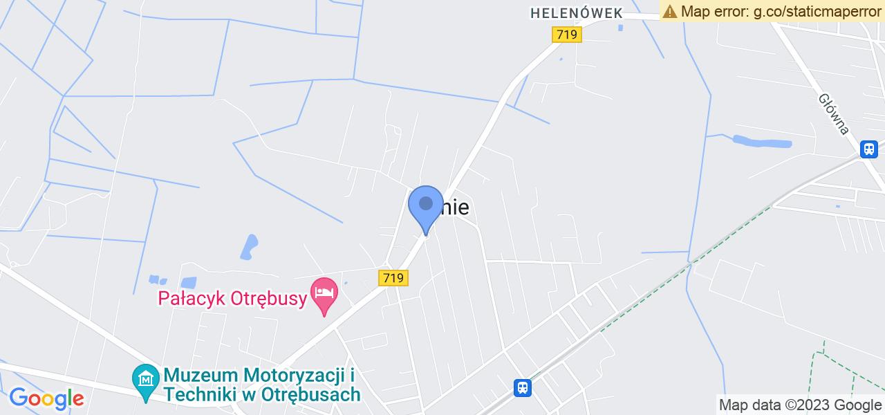 Jedna z ulic w Kaniach – Warszawska i mapa dostępnych punktów wysyłki uszkodzonej turbiny do autoryzowanego serwisu regeneracji