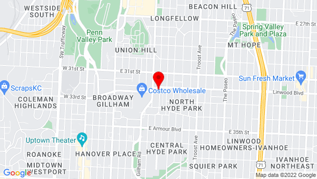 Google Map of Kansas City Artists Coalition, Kansas City, MO 64105