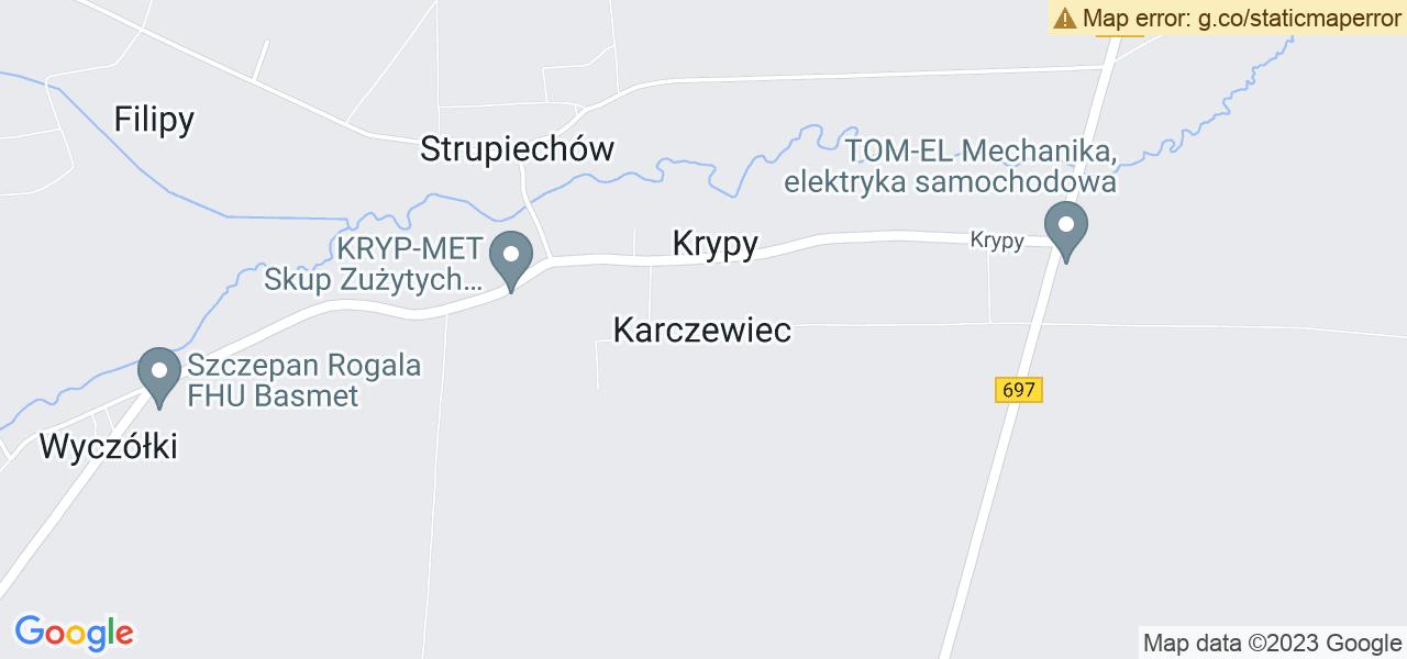 Jedna z ulic w Karczewcu – Leska i mapa dostępnych punktów wysyłki uszkodzonej turbiny do autoryzowanego serwisu regeneracji