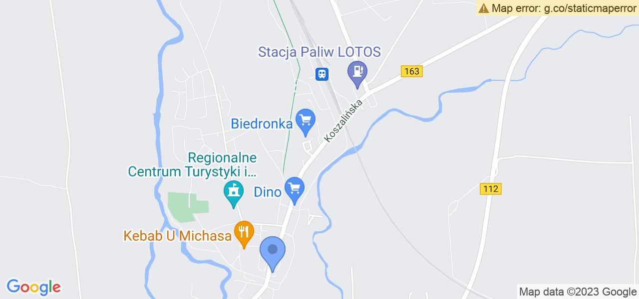 Jedna z ulic w Karlinie – Koszalińska i mapa dostępnych punktów wysyłki uszkodzonej turbiny do autoryzowanego serwisu regeneracji