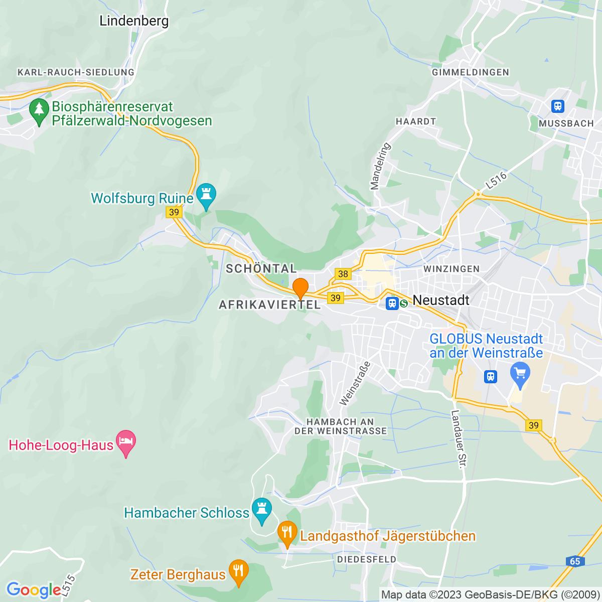 Google Map of Karolinenstraße 54 67434 Neustadt
