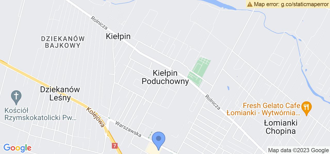 Jedna z ulic w Kiełpinie Poduchownym – Warszawska i mapa dostępnych punktów wysyłki uszkodzonej turbiny do autoryzowanego serwisu regeneracji