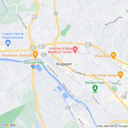 Map of Kingsport, TN