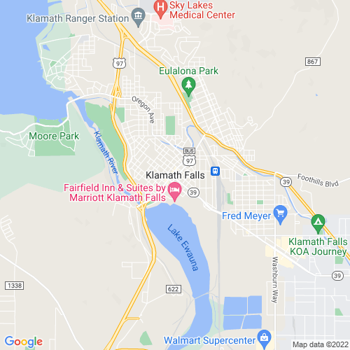 Map of Klamath Falls, OR