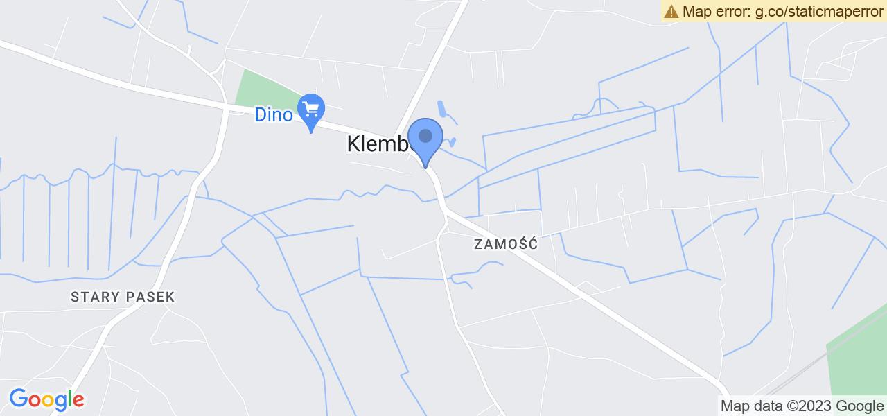 Jedna z ulic w Klembowie – Generała Franciszka Żymirskiego i mapa dostępnych punktów wysyłki uszkodzonej turbiny do autoryzowanego serwisu regeneracji