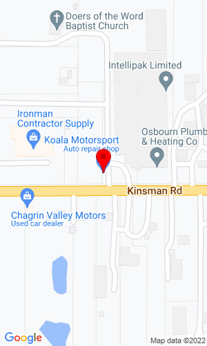 Google Map of Koala Motorsport 9988 Kinsman Rd, Novelty, OH, 44072
