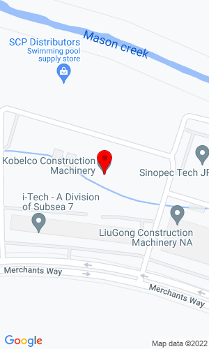 Google Map of Kobelco Construction Machinery USA HQ 22350 Merchants Way, Katy, TX, 77449