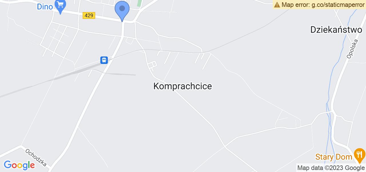 Jedna z ulic w Komprachcicach – 429 i mapa dostępnych punktów wysyłki uszkodzonej turbiny do autoryzowanego serwisu regeneracji