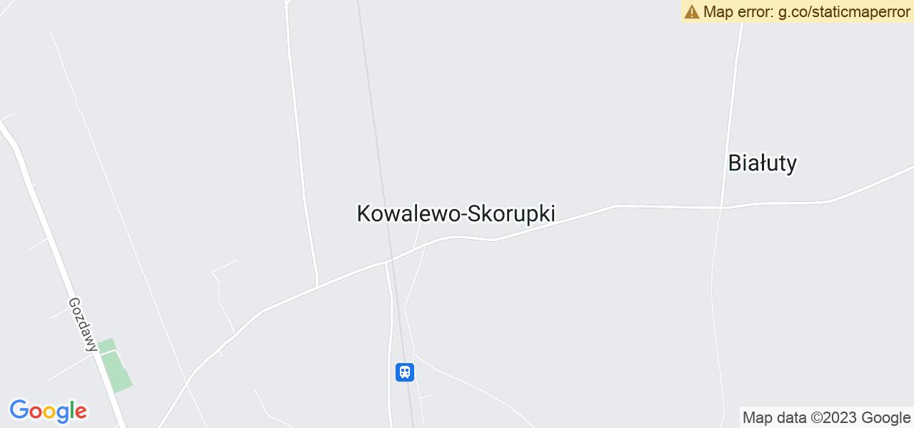 Jedna z ulic w Kowalewie-Skorupkach – Dworcowa i mapa dostępnych punktów wysyłki uszkodzonej turbiny do autoryzowanego serwisu regeneracji