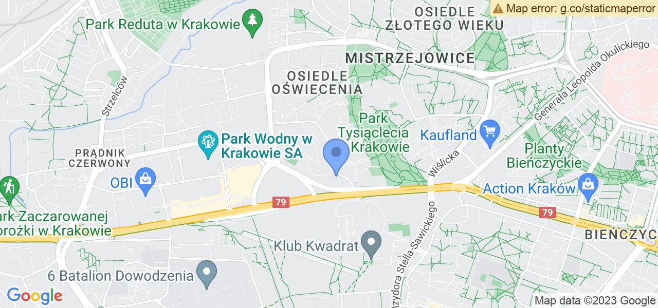 Jedna z ulic w Krakowie – Franciszka Kniaźnina i mapa dostępnych punktów wysyłki uszkodzonej turbiny do autoryzowanego serwisu regeneracji