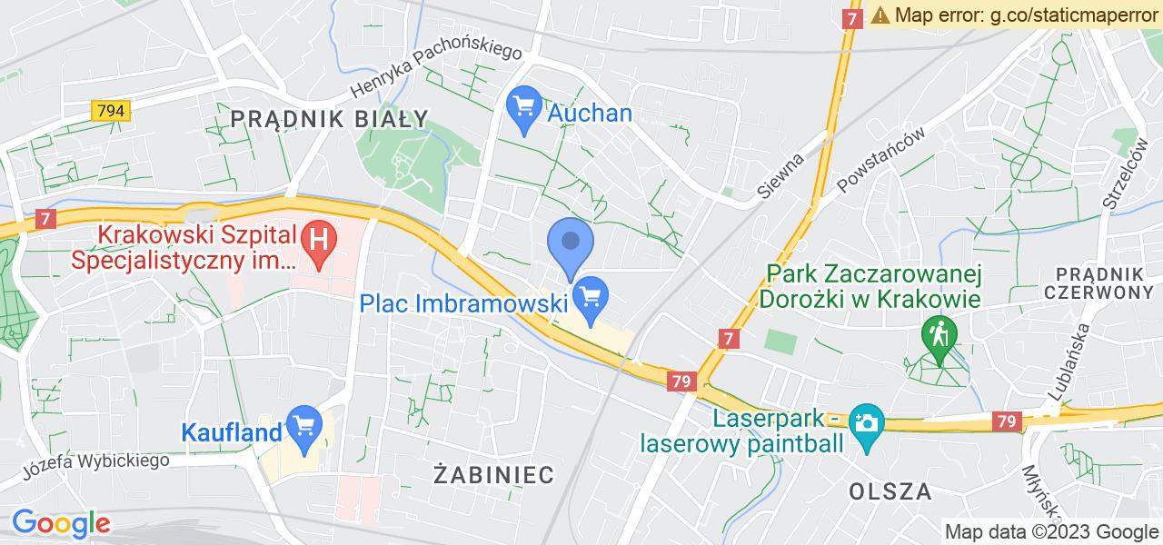 Jedna z ulic w Krakowie – Grażyny i mapa dostępnych punktów wysyłki uszkodzonej turbiny do autoryzowanego serwisu regeneracji