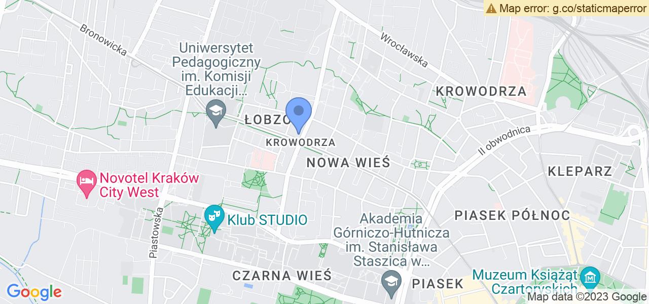 Jedna z ulic w Krakowie – Królewska i mapa dostępnych punktów wysyłki uszkodzonej turbiny do autoryzowanego serwisu regeneracji