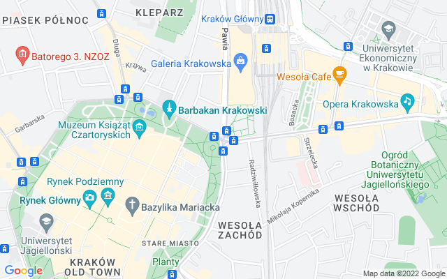 Show map of Krakow