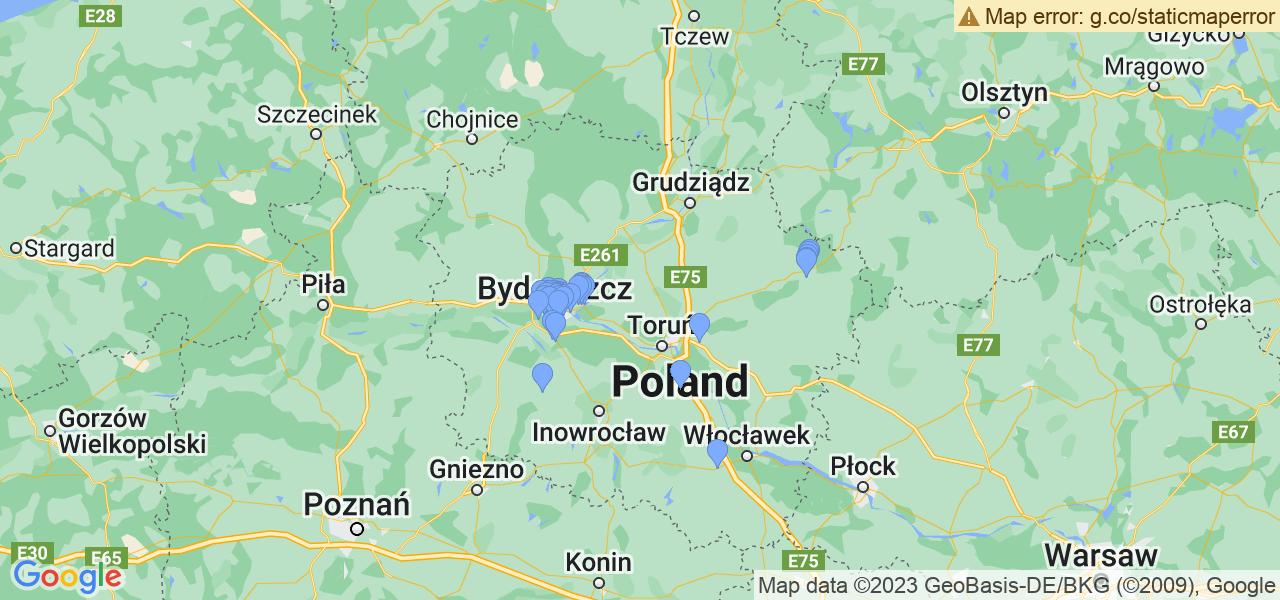 Rozmieszczenie punktów odbioru turbosprężarek do regeneracji w województwie kujawsko-pomorskim