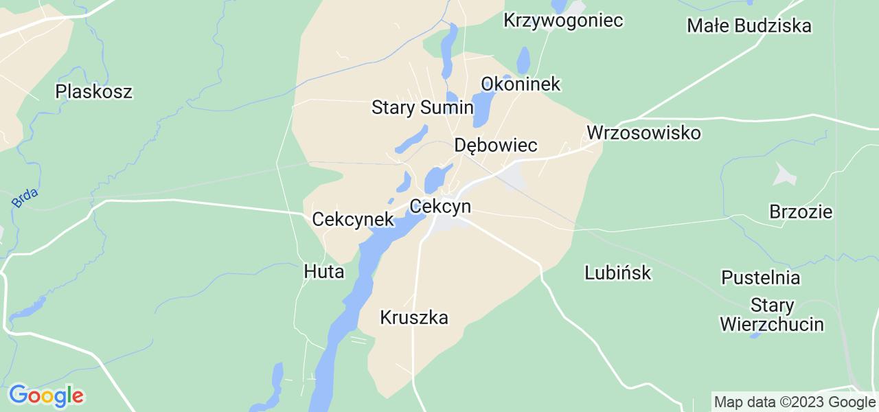 Dostępne w Cekcynie lokalizacje punktów nadania, z których możesz skorzystać, chcąc wysłać turbinę do regeneracji w największym serwisie w Polsce