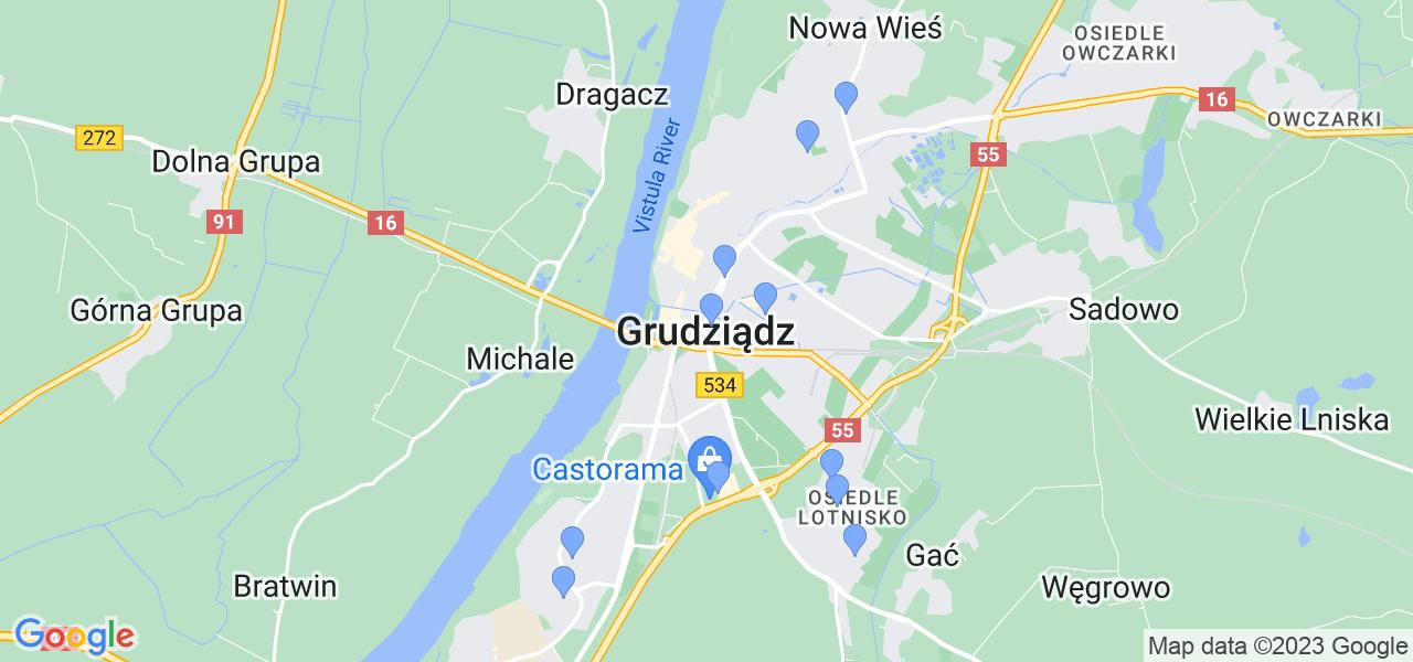 Dostępne w Grudziądzu lokalizacje punktów nadania, z których możesz skorzystać, chcąc wysłać turbinę do regeneracji w największym serwisie w Polsce