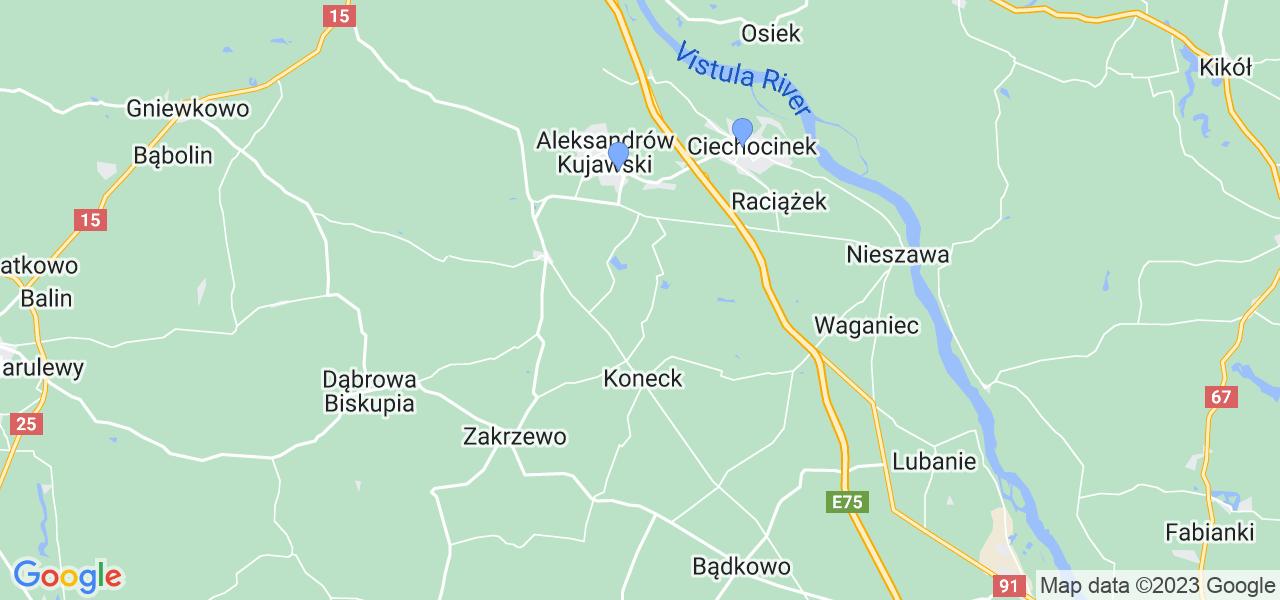 Mapka lokalizacji punktów nadania, z których mogą korzystać klienci serwisu regeneracji turbo w celu wysłania turbosprężarki – powiat aleksandrowski