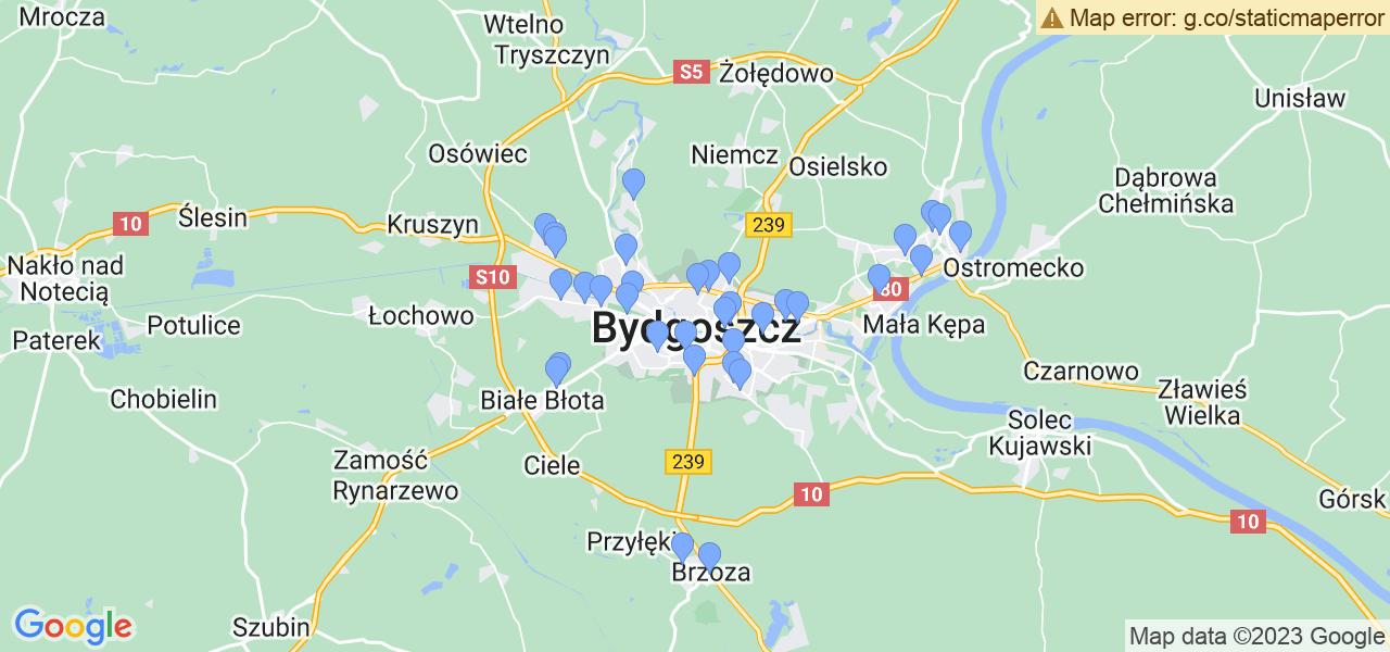Mapka lokalizacji punktów nadania, z których mogą korzystać klienci serwisu regeneracji turbo w celu wysłania turbosprężarki – powiat bydgoski