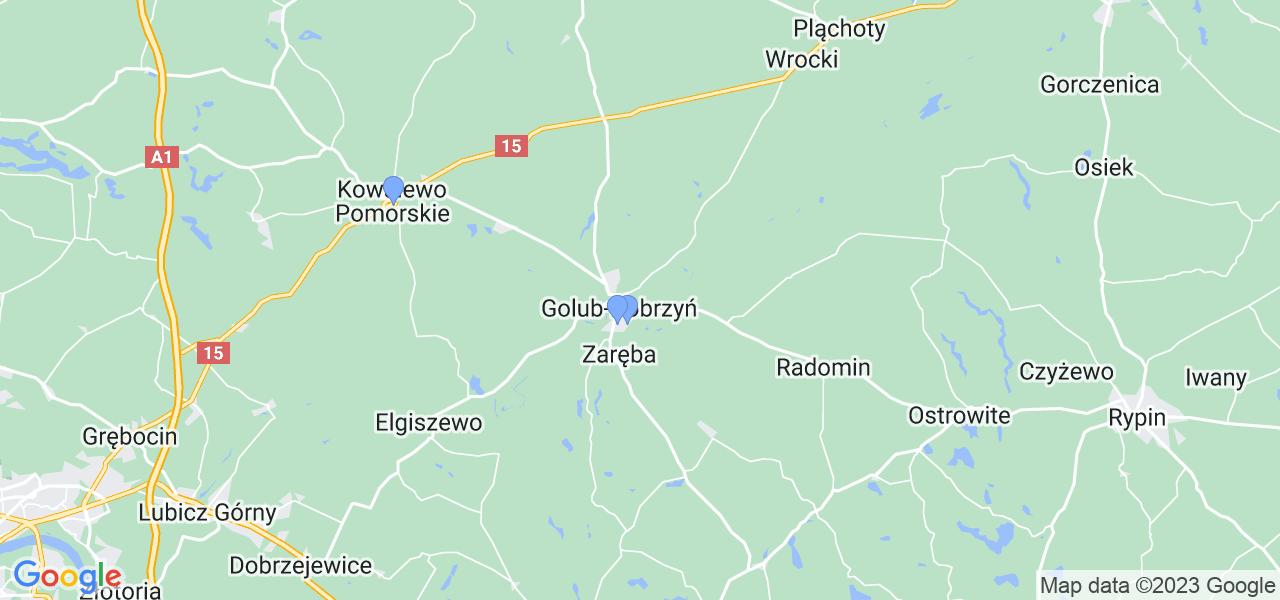 Mapka lokalizacji punktów nadania, z których mogą korzystać klienci serwisu regeneracji turbo w celu wysłania turbosprężarki – powiat golubsko-dobrzyński
