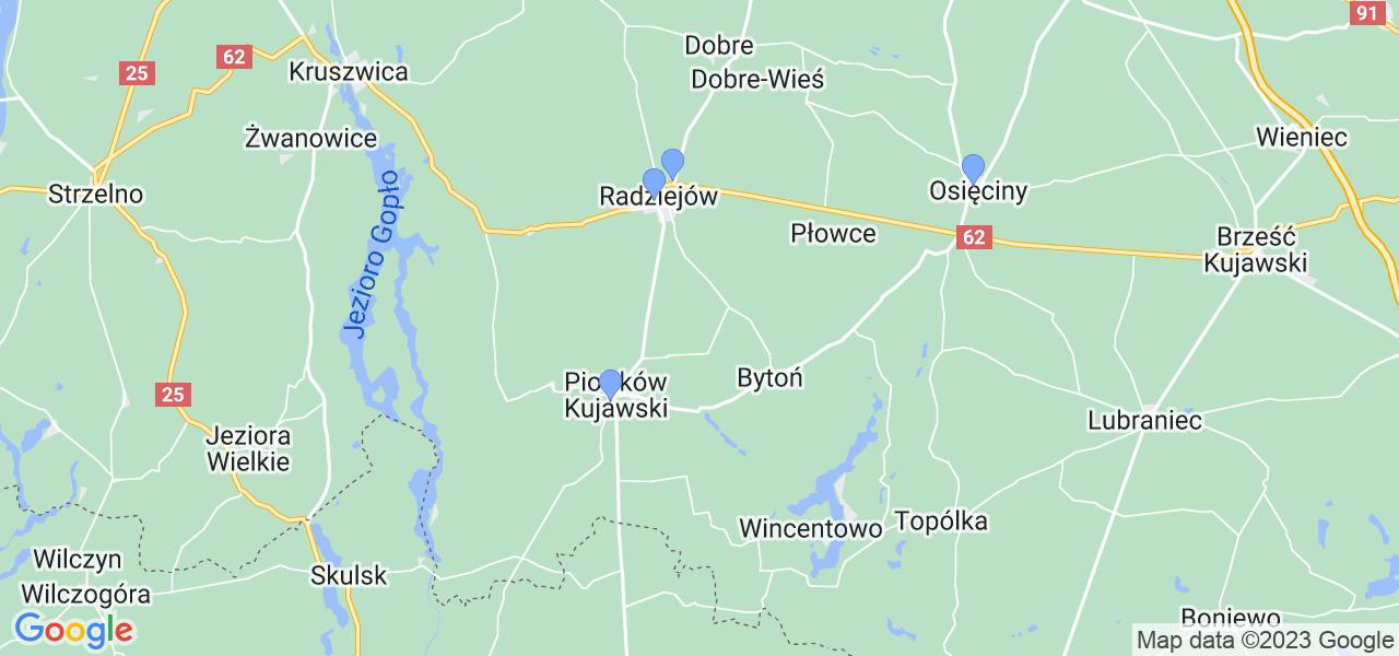 Mapka lokalizacji punktów nadania, z których mogą korzystać klienci serwisu regeneracji turbo w celu wysłania turbosprężarki – powiat radziejowski