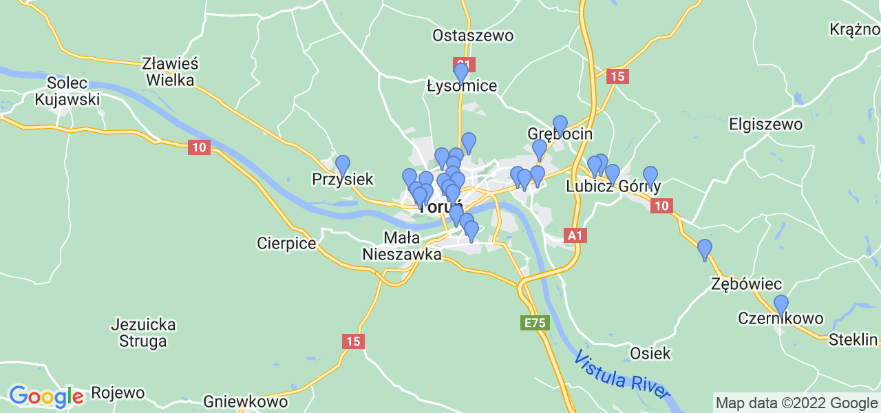 Mapka lokalizacji punktów nadania, z których mogą korzystać klienci serwisu regeneracji turbo w celu wysłania turbosprężarki – powiat toruński