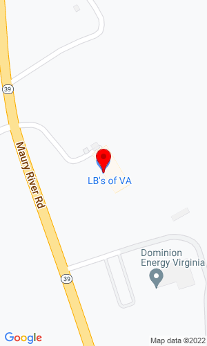 Google Map of LB's of VA Trailer Sales 486 Maury River Road, Lexington, VA, 24450