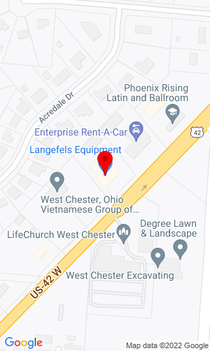 Google Map of Langefels Equipment Co. Llc. 9378 South Mason Montgomery RD. Suite 109, Mason, OH, 45040