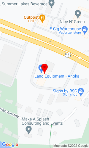 Google Map of Lano Equipment, Inc. 6140 Hwy 10 NW, Anoka, MN, 55303
