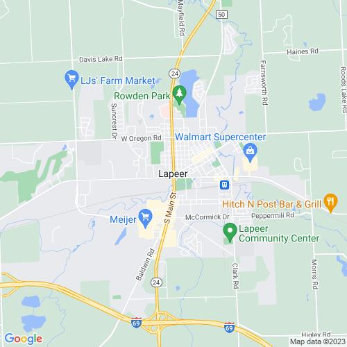 Map of Lapeer, MI