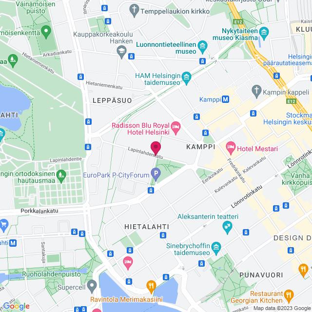 Google Map of Lapinlahdenkatu, 1600180 Helsinki, Finland