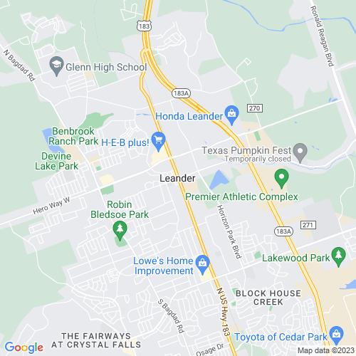 Map of Leander, TX