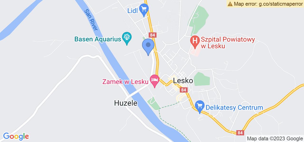 Jedna z ulic w Lesku – Bieszczadzka i mapa dostępnych punktów wysyłki uszkodzonej turbiny do autoryzowanego serwisu regeneracji