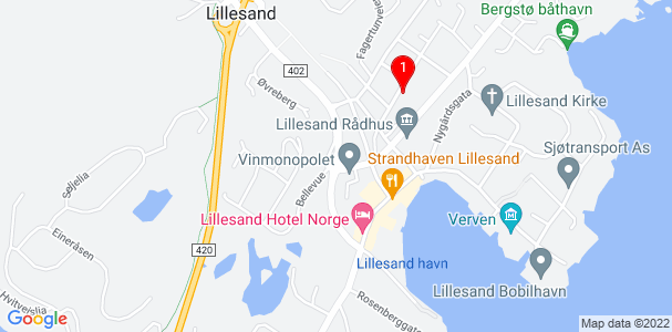 Google Map of Lillesand, Norway